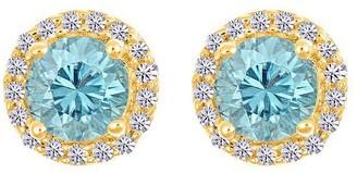 Premier Gemstone &1/8cttw Diamond Halo Earrings14K Yellow Gol