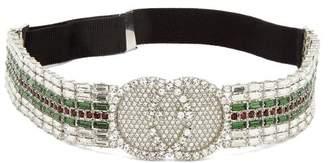 Gucci Tennis Crystal Embellished Headband - Womens - Green