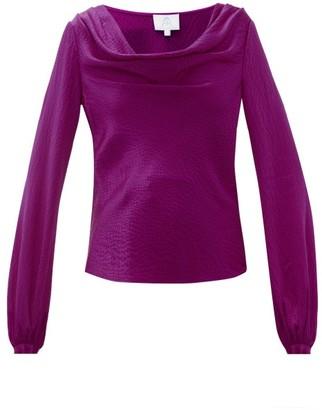 Rebecca De Ravenel Laura Cowl Neck Hammered Silk Blouse - Womens - Dark Pink