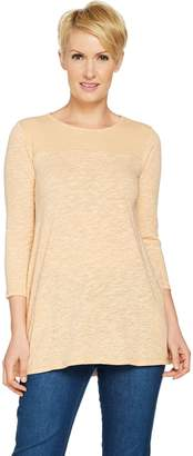 Logo By Lori Goldstein LOGO by Lori Goldstein Slub Knit Swing Top with Rib Details