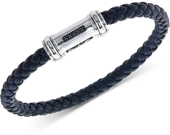 "Macy's Men's Black Sapphire Accent Leather ""Dad"" Bracelet in Stainless Steel"