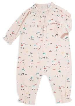 Angel Dear Girls' Smocked Detail Llama Print Romper - Baby