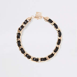 River Island Black faux leather chain necklace