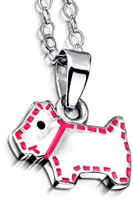 Jo for Girls Silver Children's Scottie Dog with Pink Collar and Stitching Pendant on 35.5cm Chain
