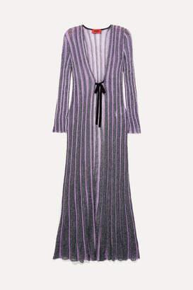Missoni Striped Velvet-trimmed Lurex Cardigan - Purple