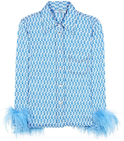 prada Prada Cotton Shirt With Feather Trim