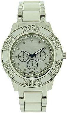 JCPenney Womens Crystal-Accent Two-Tone Bracelet Watch