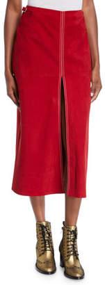 Gabriela Hearst Contrast-Stitched Tissue-Suede Front-Slit Skirt