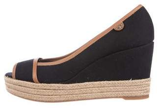 Tory Burch Peep-Toe Espadrille Wedges