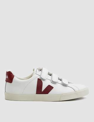 Veja Esplar Leather 3-Lock Sneaker in Extra White Marsala