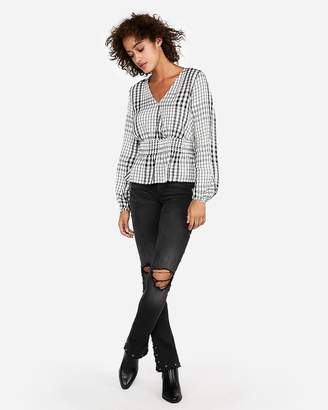 Express Plaid Smocked Waist Surplice Top