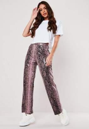 Missguided Pink Snake Print Vinyl Wide Leg Pants