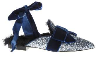 Emanuela Caruso Mules Galaxy In Glitter And Shearling Leather