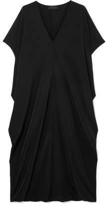 Hatch The Slouch Crepe De Chine Midi Dress - Black