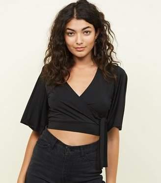 New Look Black Cape Sleeve Tie Side Party Crop Top