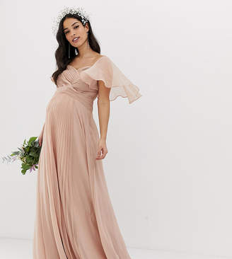 Asos DESIGN Maternity Bridesmaid pleated bodice maxi dress with flutter sleeve