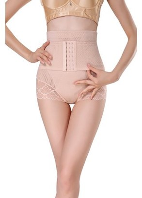 Prime Shaper Women's High Waist Tummy Control Panty with Adjustable Corset - Nude, 2X Large
