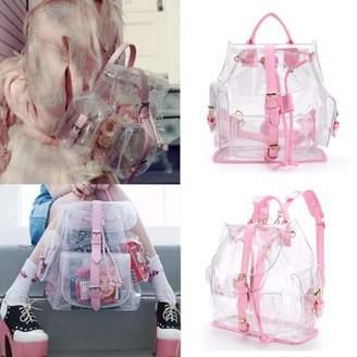 clear Unbranded Women Girls Students Plastic Bag Transparent Backpack Travel Bag Tote Handbags