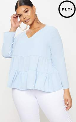 PrettyLittleThing Plus Charcoal Plunge Tiered Shirt
