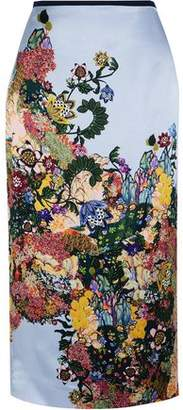 Erdem Maira Printed Silk-Satin Midi Skirt