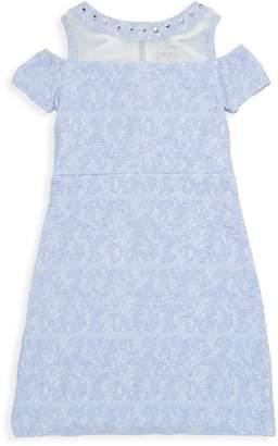 Us Angels Girl's Embellished Cold-Shoulder Dress