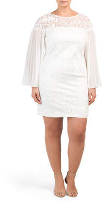 Plus Pleated Sleeve Stretch Lace Dress
