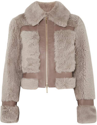 Zimmermann Fleeting Paneled Leather And Shearling Jacket - Beige