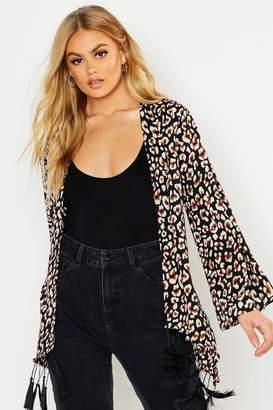 boohoo Leopard Tassel Hem Belted Kimono