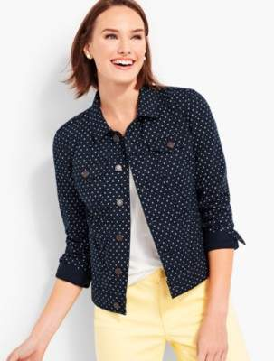 Talbots The Classic Denim Jacket-Dot Print