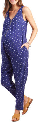 Ingrid & Isabel Maternity Arrow-Print Zip-Front Sleeveless Jumpsuit