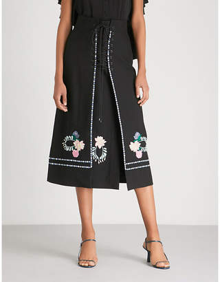 Vilshenko Ginny embroidered wool midi skirt