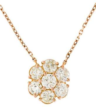 18K Diamond Cluster Pendant & Station Necklace