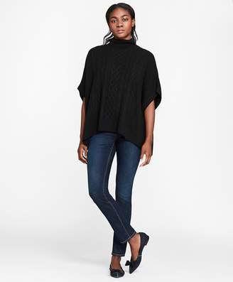 Brooks Brothers Wool-Blend Cable-Knit Turtleneck Poncho