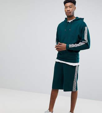 Asos DESIGN TALL Tracksuit Oversized Hoodie/ Oversized Shorts With Slub Panels