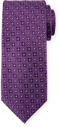 Canali Four Petals Silk Tie, Purple
