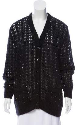 Saint Laurent Embellished Mohair Cardigan