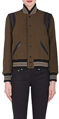 Saint Laurent Women's Leather-Trim Virgin Wool-Blend Varsity Jacket