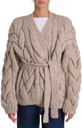 DSQUARED2 Maxi Cable Stitching Cardigan With Belt