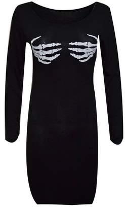 Lush Lane Womens Long Sleeves Halloween Skull Hand Skeleton Dress