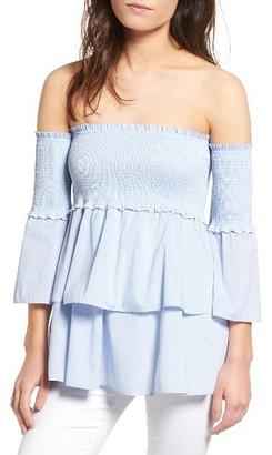 Women's Chelsea28 Smocked Off The Shoulder Poplin Top $85 thestylecure.com