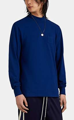 Leon AIMÉ DORE Men's Cotton Mock-Turtleneck Long-Sleeve T-Shirt - Dk. Blue