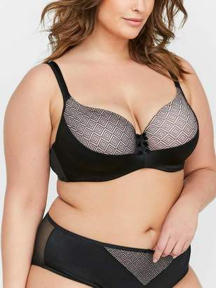 Contour Flirt Satin Microfiber Bra with Diamond Mesh - Deesse Collection