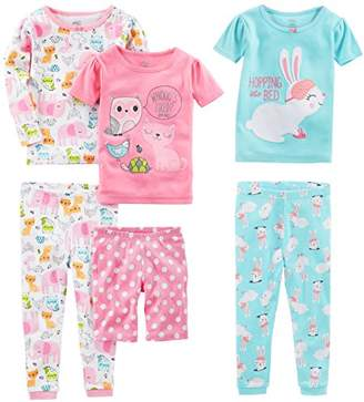 Carter's Simple Joys by Girls' Little Kid 6-Piece Snug Fit Cotton Pajama Set