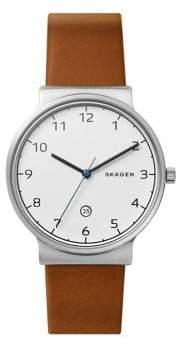 Skagen Mens Three-Hand Ancher Cognac Leather Watch