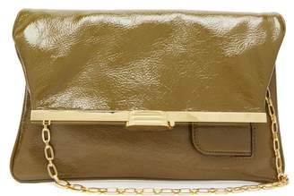 Bienen Davis Bienen-davis - Pm Fold Over Leather Clutch Bag - Womens - Khaki