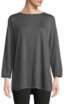 Eileen Fisher Striped Terry Cloth Side-Slit Tunic, Petite