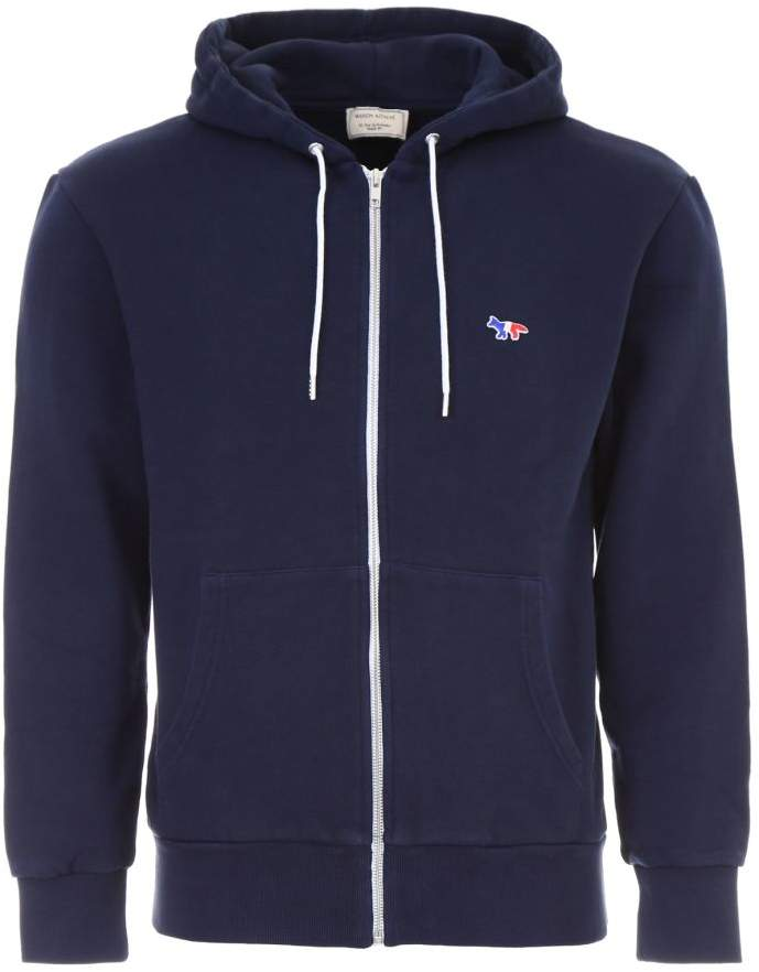 Zipped Hoodie With Tricolor Patch