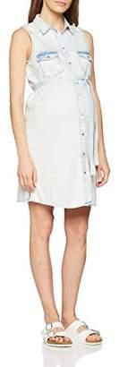 Mama Licious Mamalicious Women's Mlhope S/l Short Dress B Light Blue Denim, (Size: Small)