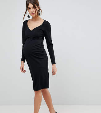 9adbf65139a Asos Midi V Neck Pencil Dress with Long Sleeves