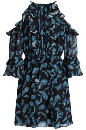 Cold-Shoulder Ruffle-Trimmed Silk-Chiffon Mini Dress